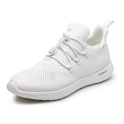Quattro Scarpe Da Corsa Stagione, Sneakers Leggero Coppia, Indossare-Resistente AntiScivolo Scarpe Casual Per Uomini E Donne,White,42