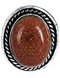 Waama Jewels Traditional & Ethnic Silver Plated Finger Ring Agate Stone For Women & Girls( Adjustable )