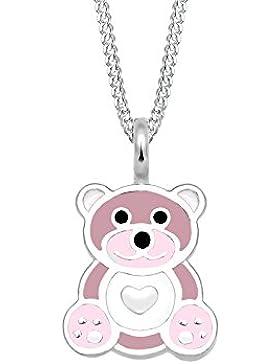 Elli Kinder-Kette mit Anhänger Teddybär Herz 925 Silber Emaille 36 cm