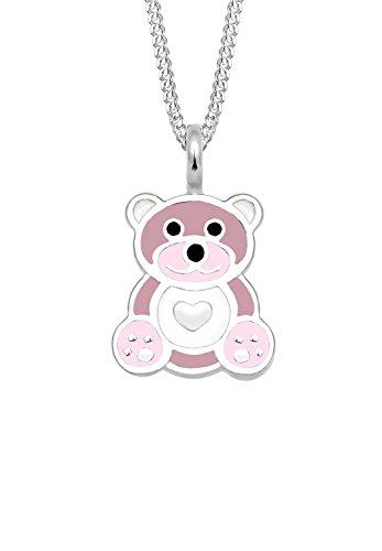 Elli Kinder-Kette mit Anhänger Teddybär Herz 925 Silber Emaille 36 cm - (Bear Geburtstag Glücksbärchi)
