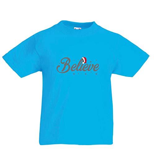 lepni.me Kinder Jungen/Mädchen T-Shirt Glaube an das Wunder des Weihnachtsabends 2018 (14-15 Years Hellblau ()