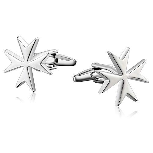 KnSam Gemelos Personalizados Grabados Gemelos de Arce Cruzado Joyeria de Acero Mujer,Plata