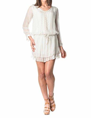 LauraMoretti-Robe en soieavec encolure en V, manches longues,taille ajustableet la broderie Beige