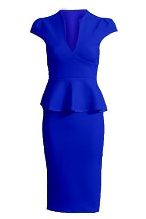 New Ladies Cap Sleeve V Neck Peplum Skirt Knee Length Women's Dress[Royal Blue, 10]