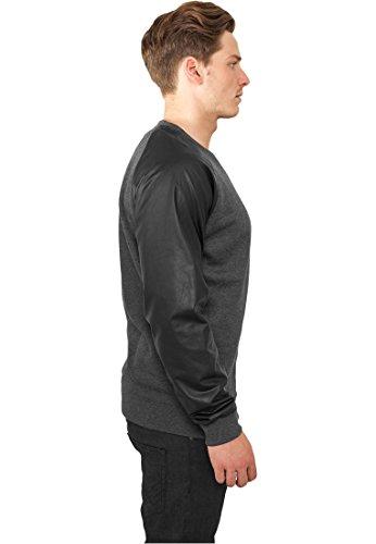Urban Classics Herren Pullover Raglan Leather Imitation Crew Charcoal/Black