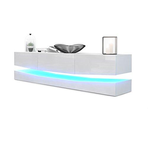 Meuble TV Armoire basse City, Corps en Blanc mat / Façades en Blanc haute brillance avec l'éclairage LED