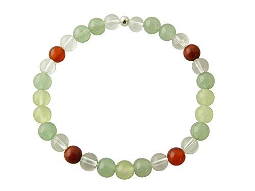 Sunsara Traumsteinshop Edelstein Sternzeichen Armband - Krebs, mit 925er Silber Perle, Heilsteinarmband, Stretcharmband 8055