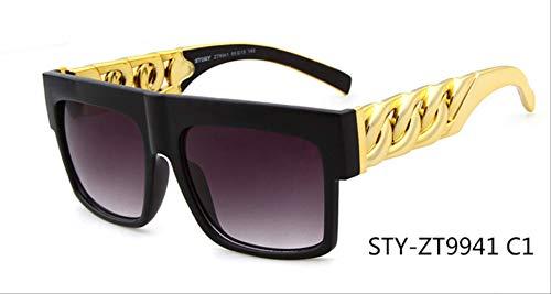 MJDL Mode Gold Metallkette Kim Kardashian Beyonce Sonnenbrille Vintage Hip Hop Sonnenbrille C1