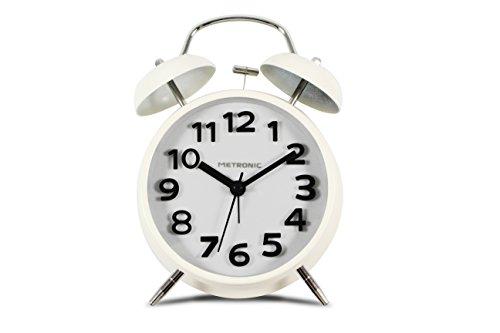 Metronic 477331 - Despertador Vintage, Cuarzo, silencioso, Doble Campana, Potente Alarma, con botón...