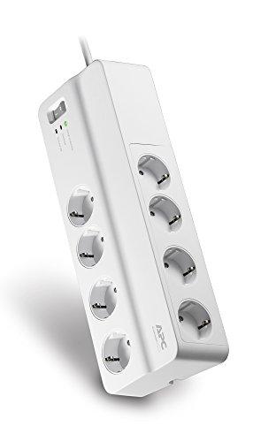 APC Surge Protector - Steckdosenleiste mit Überspannungsschutz - 8-fach Stecker Schuko, schaltbar, Farbe: weiß, für PC, TV u.a. - PM8-GR
