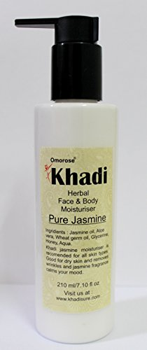 Khadi Omorose Jasmine Face and Body Moisturizing Lotion Enriched with Shea Butter, Cucumber, Aloe Vera Extract and Vitamin E (210ml)