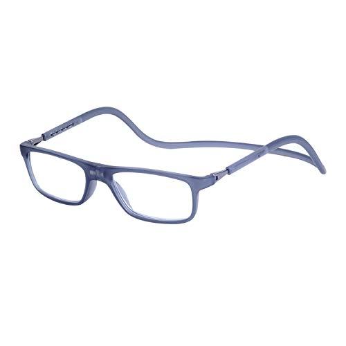 Gafas de Lectura Magnéticas Plegables para Hombre y Mujer +3.5 (70-74 años) Presbicia Vista Montura Regulable Colgar del Cuello y Cierre con Imán, Transparente Gris