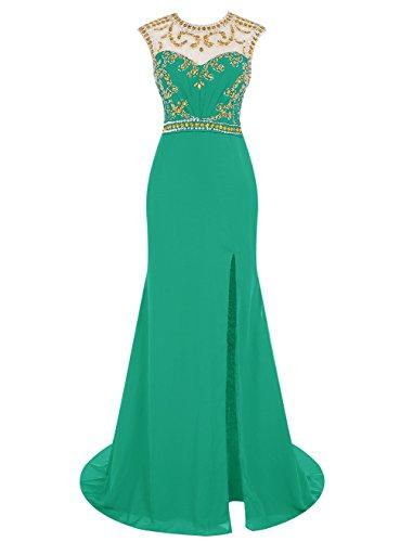 Dressystar Robe femme,Robe de soirée longue à sirène, fendue, aux perles en mousseline Vert