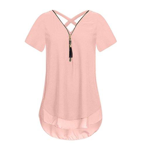 Damen Sommer Reißverschluss Tank Crop Tops Vest Tanktops Weste Cami DOLDOA Oberteile T-Shirt Geburtstags Geschenk Für Frauen Mädchen Freundin (EU:46, Rosa - 7)
