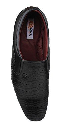 Digni Le glissement de faux hommes en cuir sur les chaussures formelles de chaussures casual - Choisir la taille Noir