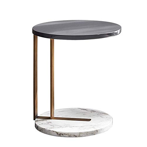 YueQiSong Marble Side Table, Metal Frame, Easy to Move, Sofa Bedroom Parlour Coffee Table/Desk, Black, 45 * 52Cm (White X-frame Schreibtisch)