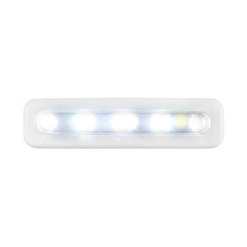 OurLeeme Mini 5-LED-Nachtlicht, Nachtlicht, Closet-Schiebel, Wandleuchte, batteriebetrieben, für Bad, Nachttisch, mit abnehmbarem Klebemittel, Weiß