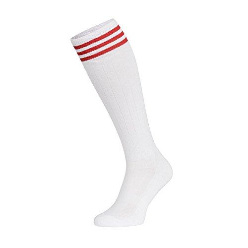 Weiß Kostüm Streifen - Nessi Damen Kniestrümpfe Baumwollkniestrümpfe Volleyballsocken Sportsocken Socken Damensocken Strümpfe Baumwollstrümpfe Laufsocken Volleyball - Fitness - Tanzen - Inline