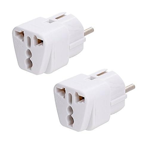 Guardian [lot de 2] adaptateurs secteur universel/ prise électrique UK/US/Chine vers France/Europe-blanc