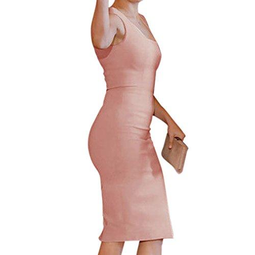Honghu Damen Sommer Slim Fit ärmellos Etuikleider Sexy Knie-Länge Dress Rosa