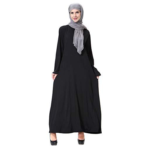 Oyedens Muslimische Kleid für Damen - Golddruck Kleider Arabisches Langarm Abaya Ethnisches Kostüm Dubai Kaftan für Ramadan M-XXL (Baby Kostüm Dubai)