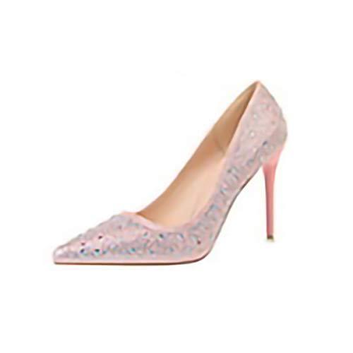 WEZ Die Schuhe der koreanischen Art und Weisebankettfrauen mit flachem Mund zeigten reizvolle dünne Diamantrhinestone-AbsatzschuheW