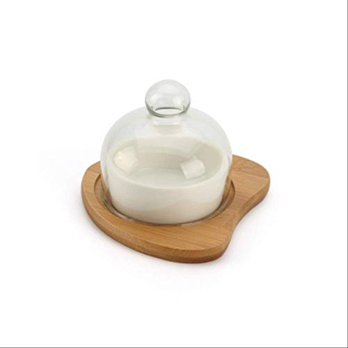 Neue Keramik-dessert Bowl Snack Plate Try Fruit Salad Ice Cream Bowl Pudding Cup Mit Bamboo Tray Glass Cover Creative Tableware pro - Pro-dessert-pudding