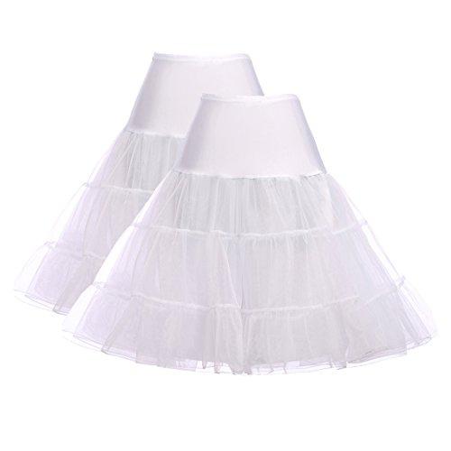 damen vintage petticoat underskirt unterröcke knielang festliche röcke reifrock für brautkleid M ZHXS0003-3,C1,Weiß,Weiß
