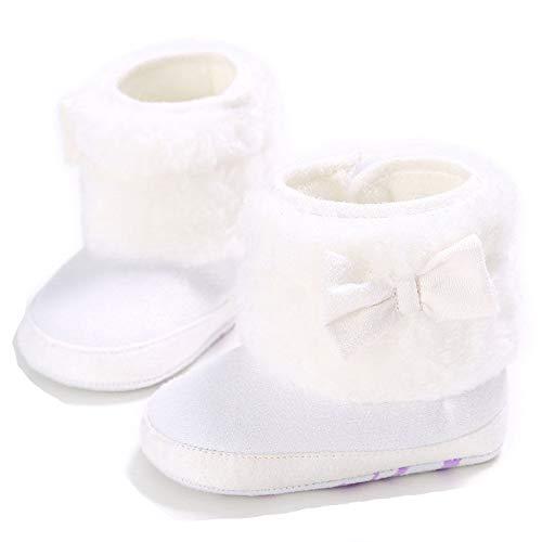 Winter-Baby-Säuglingsjungen-Mädchen Stricken Woolen warme Schnee-Stiefel-Schuhe (12-18 Months, Weiß B)