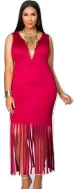 Neue Frau Plus Größe Rot Velourslederimitat ärmellos Maxi Kleid Büro Kleid Casual Abend Party Wear plus Größe 14–16 (Fringe Kleid Plus Größe)