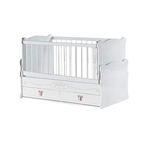Pinky Schaukelndes Babybett, Gitterbett 60x120 cm mit schubladen weiß