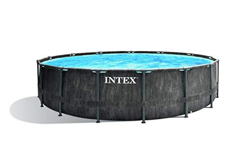 Intex Unisex- Erwachsene Premium Frame Pool Set Prism Greywood Ø 457 x 122 cm, Dunkelgraue Holzoptik