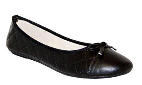 Schwarz Patent gesteppt Ballerina Stil Pumpen von Spot auf-in allen Größen erhältlich UK 3bis UK 8, schwarz - Patent Black - Größe: 41 EU Patent Dolly