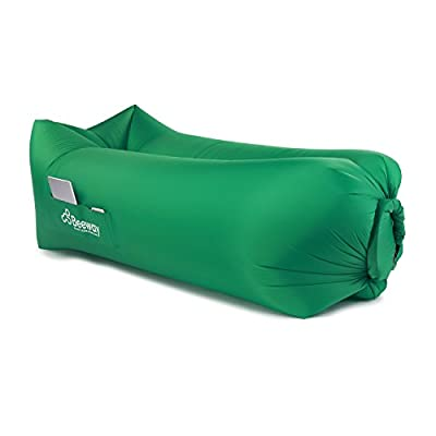 Beeway® Inflatable Lounger 2nd Generation - Headrest Comfort Design, One Inlet Port, Nano Nylon (only 0.8kg), as Sleeping Air Bed Sofa Couch Bean Bag Mattresses for Camping Beach Hiking Hangout produced by BEEWAY - quick delivery from UK.