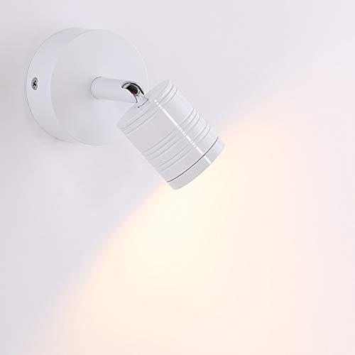 MIAOLL 3W LED Lampe, Wand-Leuchte, einflammig mit Schalter, Wandleuchte,Strahler, Spots, Wandstrahler, Deckenspot, dreh- und schwenkbar [Energieklasse A],White - 3 Led-wand