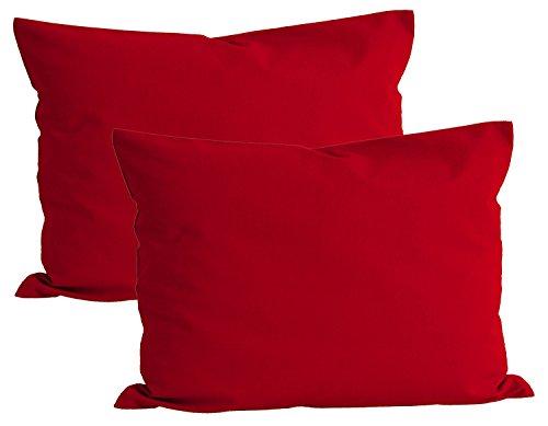 Beties Basic Lot de 2 taies d'oreiller d'env.-40 x 60 cm 100 % coton Plusieurs couleurs vives unies, 100 % coton, Rot, 40 x 60 cm