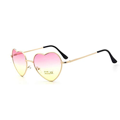 QDE Sonnenbrillen Heart Shaped Sunglasses Frauen Metall Klare Rote Brille Herz Sonnenbrille, Pink