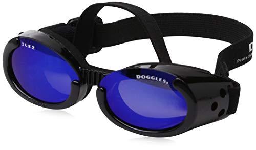 Doggles DGIL-01-S ILS - Gafas de Sol para Perros, Negro (Shiny Black Frame/Mirror Blue Lens), S
