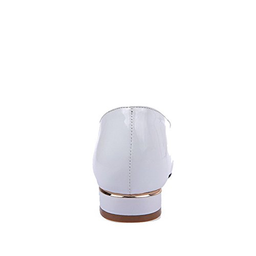 AgooLar Femme à Talon Bas Couleur Unie Tire Verni Pointu Chaussures Légeres Blanc