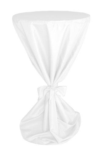 MODERNO blickdichte Stehtisch Husse Stehtisch-Husse Mikrofaser mit Band für die Schleife Premium Qualität in Weiss 100 cm Durchmesser