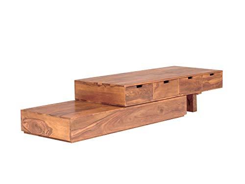 massivum Lowboard Country 290x38x60 cm aus Palisander Massiv-Holz braun gewachst  verstellbar 3 Schubladen, TV-Board