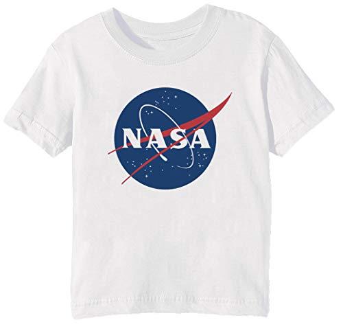 Erido NASA Niños Unisexo Niño Niña Camiseta Cuello Redondo Blanco Manga Corta...