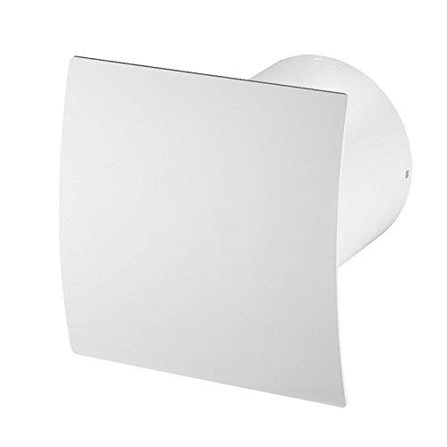 Super Leise Badlüfter mit weiß Front , Wand-Ventilator Ø 100 Kugellager Mega Silent Standard Escudo - Line System+ (weiß) (Badezimmer Lüfter Leise)