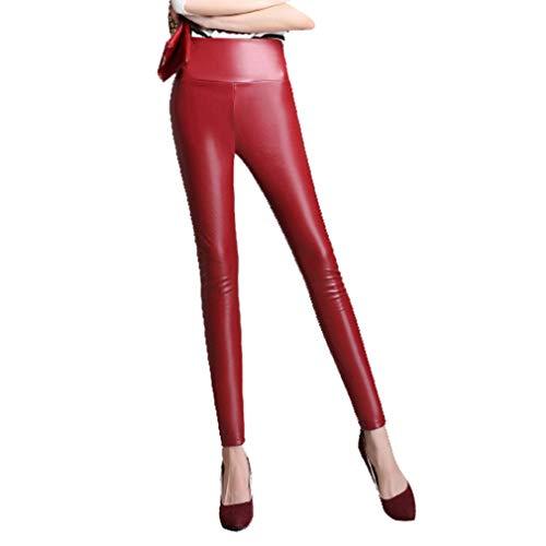 Yying Mode PU Leder Hosen Damen Leder Leggings Damen Hohe Taille Leggings Stretch Schlanke Schwarze Leggins