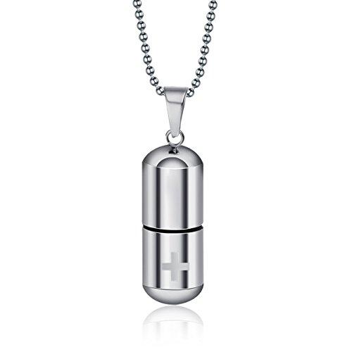 HooAMI Memorial Urne Schmuck,Edelstahl Kreuz in Form von wunderschönen Kapseln Parfüm-Flaschen Anhänger Halskette,Silber