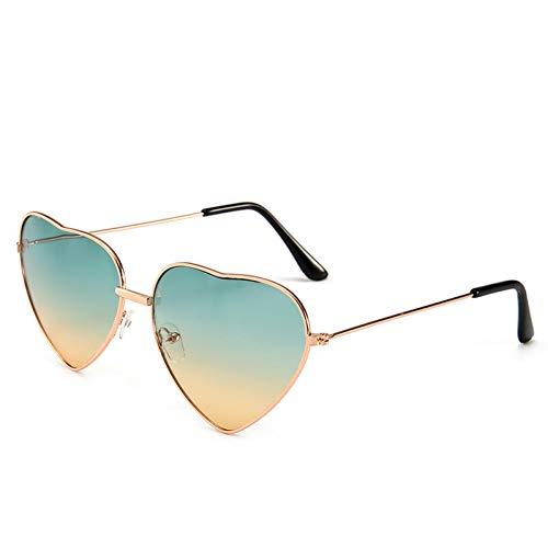 CCGSDJ Herzförmige Sonnenbrille Frauen Rosa Rahmen Metall Reflektierende Spiegel Objektiv Mode Luxus Sonnenbrille Damen