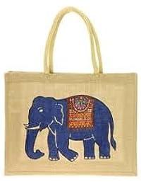 "YRS Jute Tote Bags Soft Cotton Handles Laminated Interior Bags Size: 9"" X 11"" X 4"" , Medium Size: 12"" X 12"" X..."