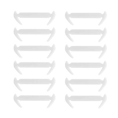 Garciasia 12 Unids/Pack Cordones únicos de Silicona elásticos en Forma de Hoz sin Corbata para Zapatillas de Deporte Niños Adultos Cordones de Correa Desechables Desechables (Color: Blanco)