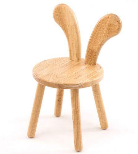 MANXUEUP Chair Massivholz Kleine Bank Holzhocker Kinder Studie Stuhl Baby Mädchen Esszimmerstuhl Kinder Jungen Kaninchen Ohren HockerB -