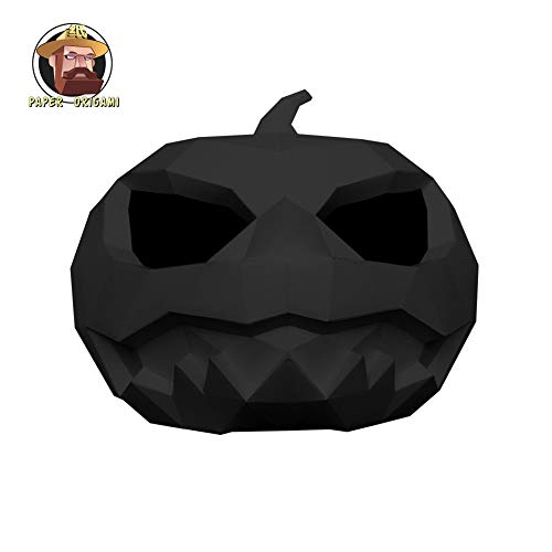 ZYWX DIY-Kürbis-Licht Papier Schimmel DIY Material Party Masquerade, Dekoration, Dekoration, Schatten, Weihnachts-/Halloween-Maske,Black